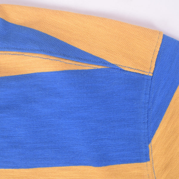 Men's Henry James Long Sleeve Stripped Applique Rugby Shirt - Mustard-Blue - klashcollection - 3