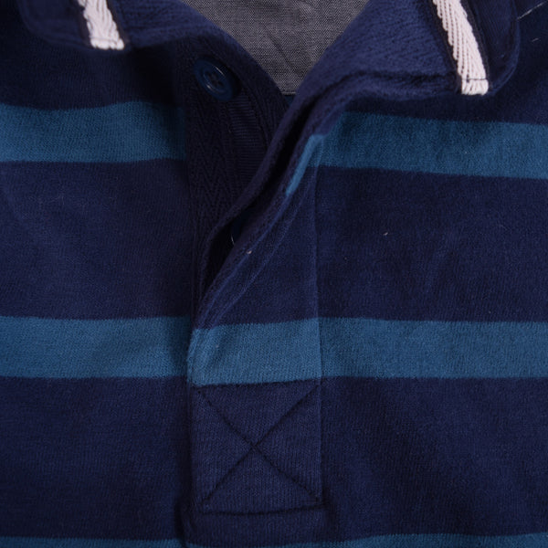 Men's Henry James Bright Blue Striped Polo Shirt - klashcollection - 5