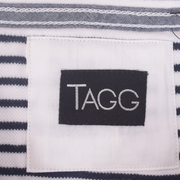 Ladies TAGG textured striped  fabric pocket crew  - Navy/White - klashcollection - 4