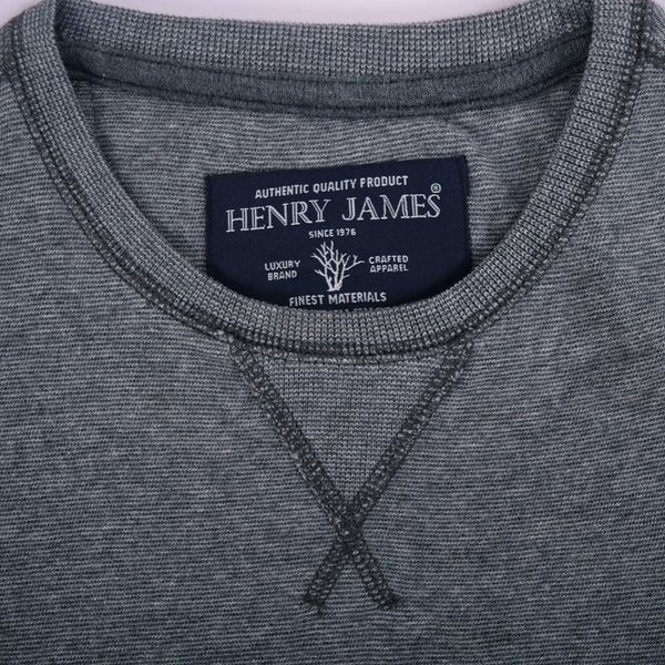 Men's Henry James textured Crew Neck Long sleeve tee Shirt - Grey Marl - klashcollection - 4