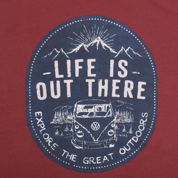 "Men's Henry James  ""Life is out there"" Graphic print Crew neck T-Shirt - Burgundy"