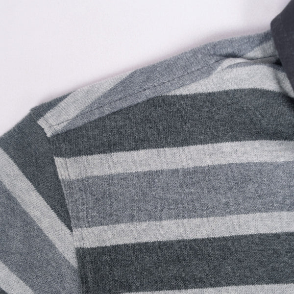 Men's Henry James Long Sleeve Stripped Rugby Shirt - Grey/Charcoal - klashcollection - 5