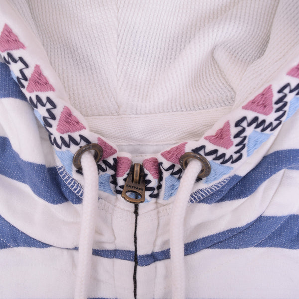 Ladies TAGG Zip Through Striped Hooded - White/Blue - klashcollection - 3