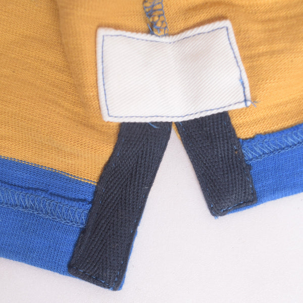 Men's Henry James Long Sleeve Stripped Applique Rugby Shirt - Mustard-Blue - klashcollection - 5