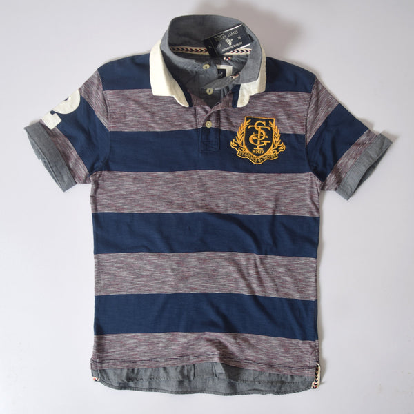 Men's Henry James ST-G Double Collar Dyed Yarn Striped Polo Shirt - Burgundy -Navy - klashcollection - 2
