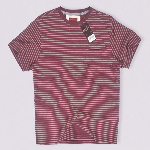 Men's Henry James Crew Neck Burgundy  pocket Tee shirt - Burgundy / White - klashcollection - 1