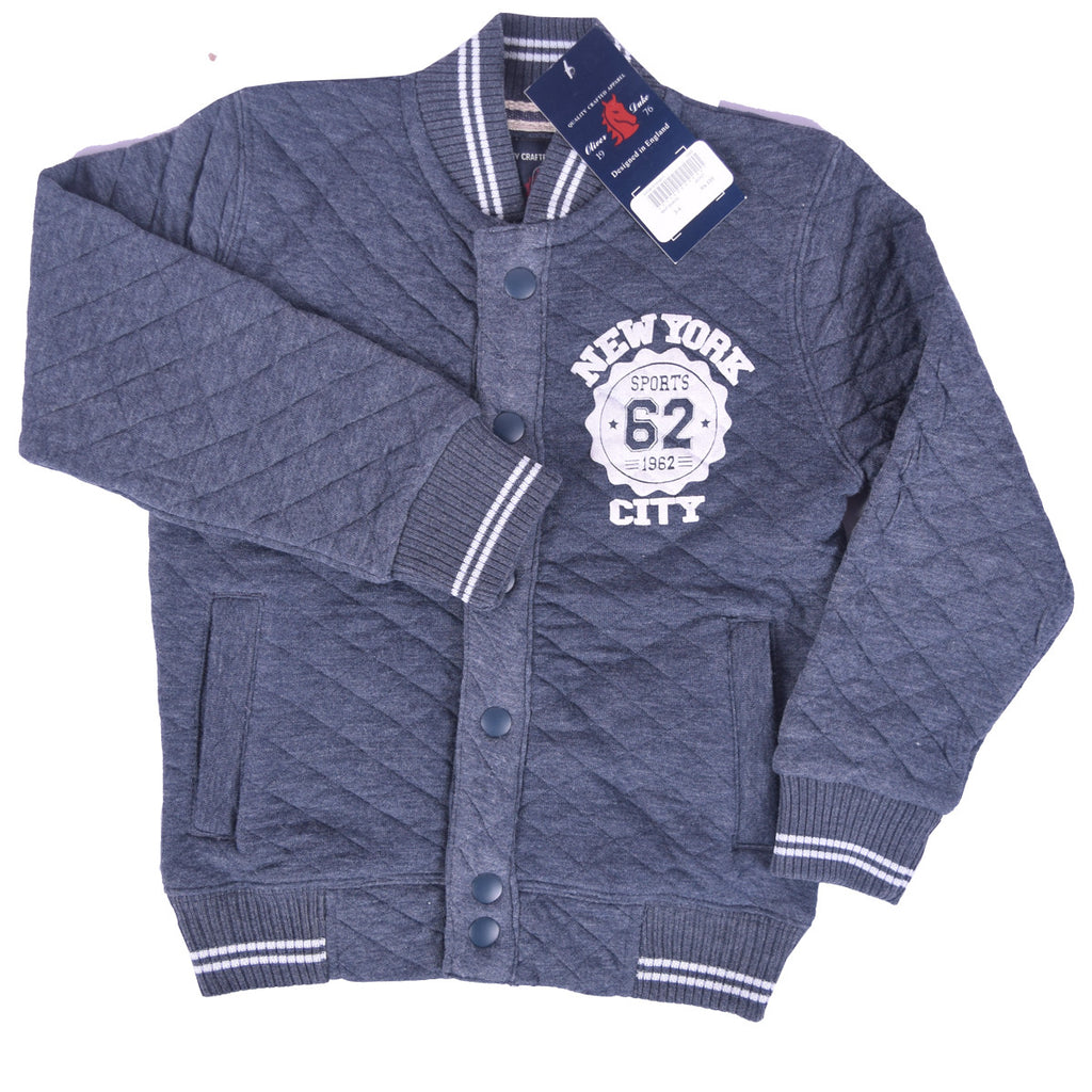 Kids Oliver Duke Quilted Button Through baseball Jacket - Jeans Marl - klashcollection - 1