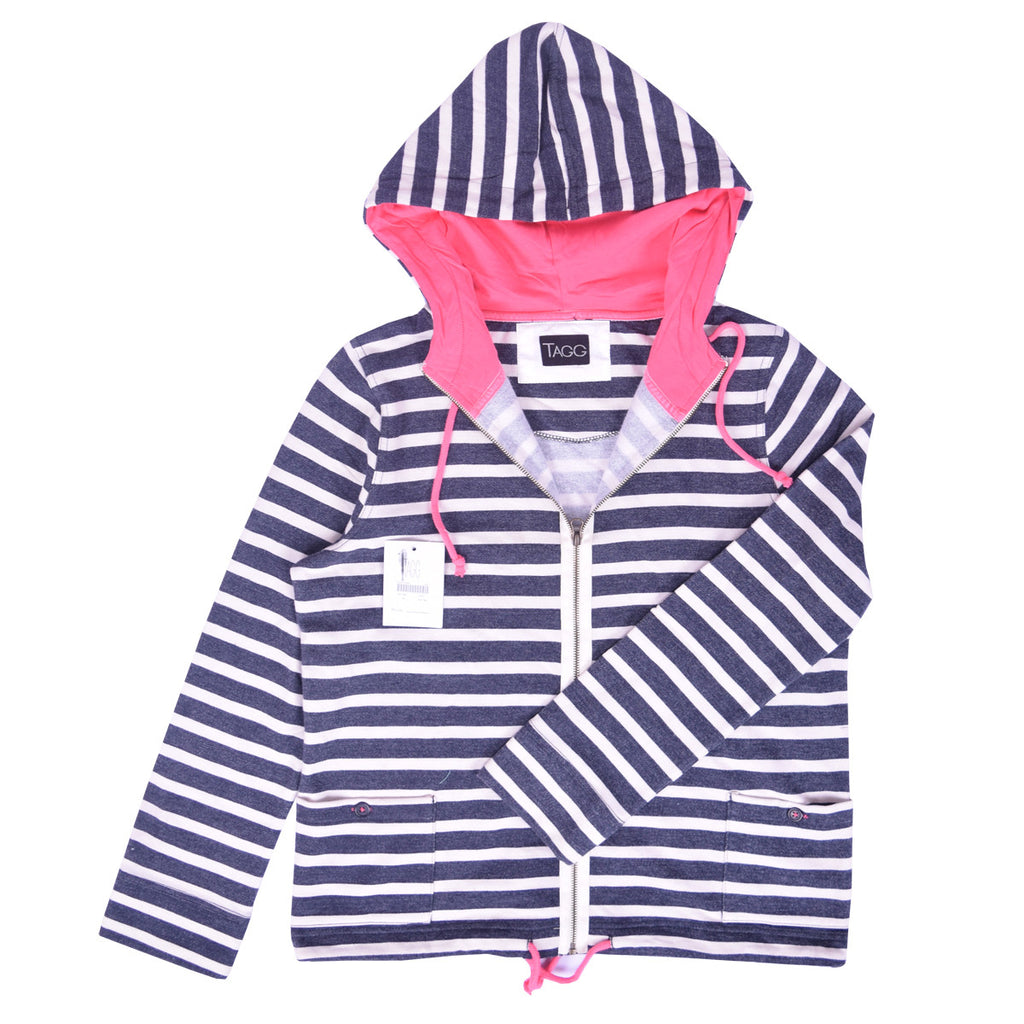 Women Zip Through Striped neon Pink Hood Lined Hoodie - Navy  White Neon Pink - klashcollection - 1