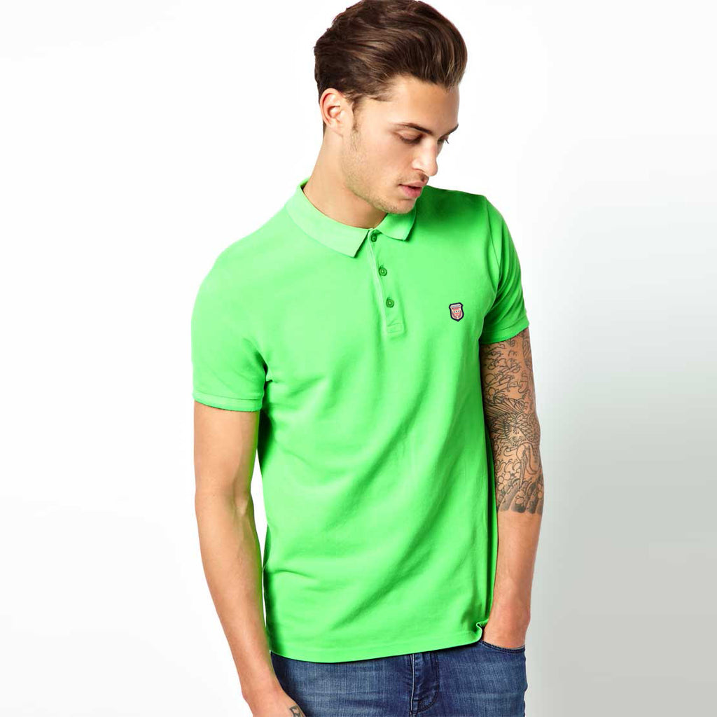 Men's Henry James Neon Short sleeve Polo Shirt - Neon Green - klashcollection - 1