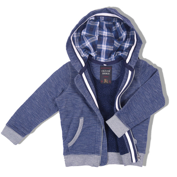 Kids Oliver Duke Fur Lined Zipper Hoodie with Flannel in side Hood - Jeans Marl - klashcollection - 1