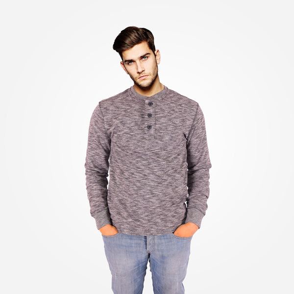 Men's Henry James Nap Yarn Long Sleeve Henley Shirt with Ribbed Cuffs - Chocolate Marl - klashcollection - 1