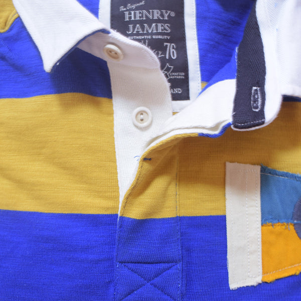 Men's Henry James Long Sleeve Stripped Applique Rugby Shirt - Mustard-Blue - klashcollection - 6