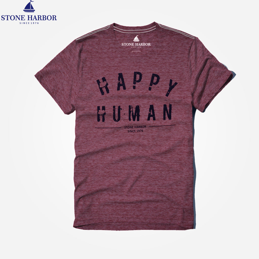"Men's Stone Harbor Micro Soft ""Happy Human""  Crew Neck T-Shirt - klashcollection - 1"