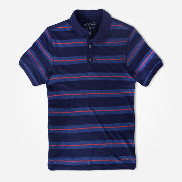Men's Henry James  Scale Striped Rugby Polo Shirt - klashcollection - 1