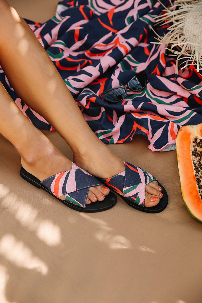 Penida Palm Printed Picnic Rug and Matching Printed Sandals