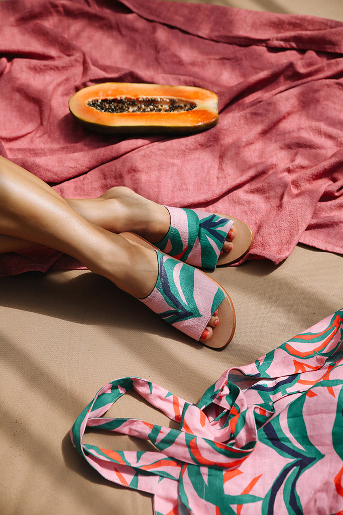 Penida Palm Printed Sandals by La Luna Rose