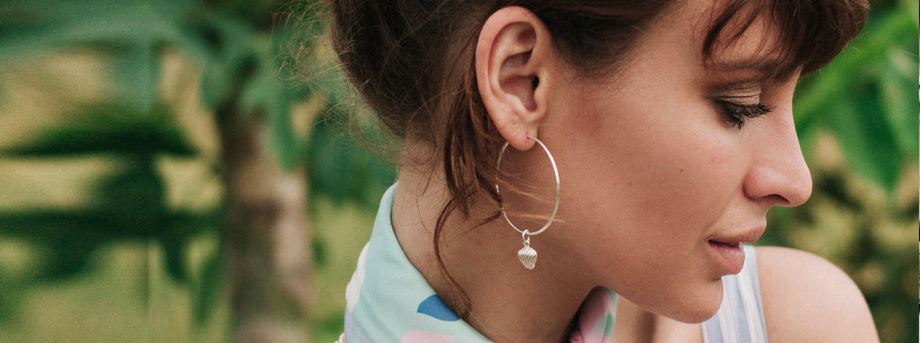La Luna Rose Charm Hoop earrings