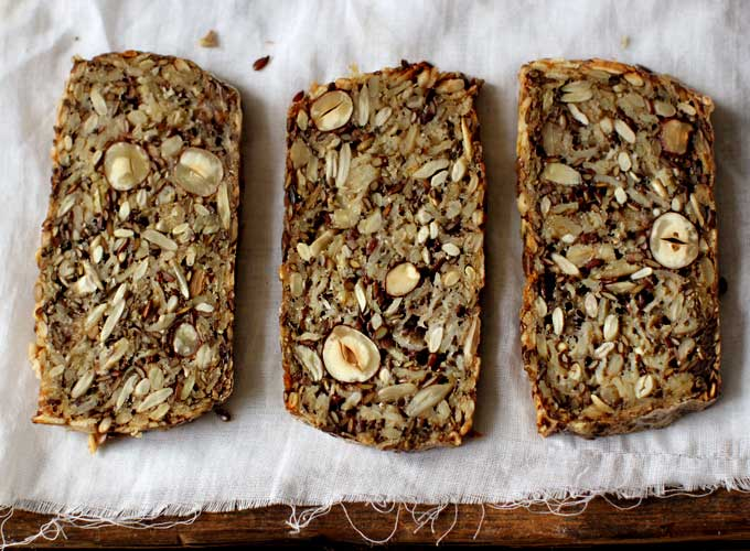 My new Roots life changing loaf of bread full of nuts & seeds