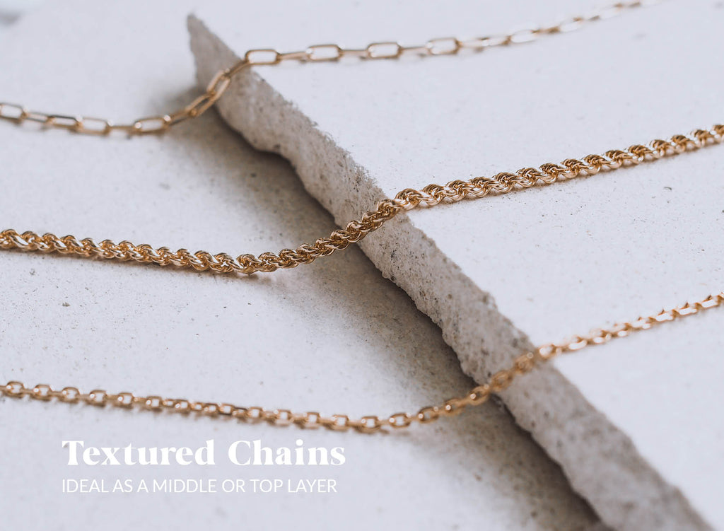 Luna & Rose Velvet Vacation textured chains are great for necklace layering