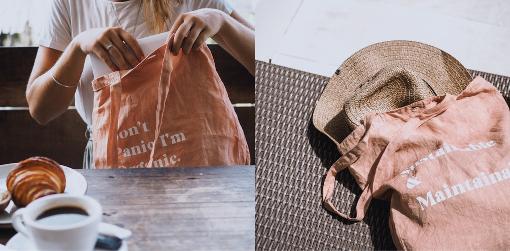 Organic Dyed Market Tote Bags by Luna & Rose sustainable and maintainable Print