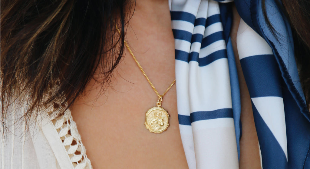 Patron Saint of Motherhood Necklace Pendant in Gold by La Luna Rose