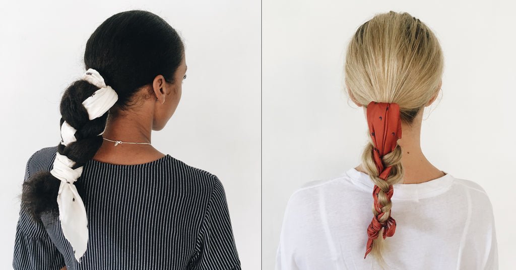 La Luna Rose Scarves Plaited ponytail style