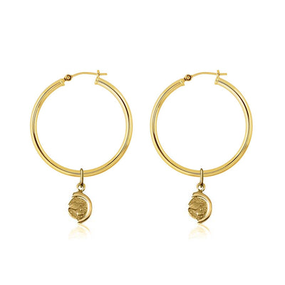 La Luna Rose Gold Tube Hoops with Gold Globe Charms