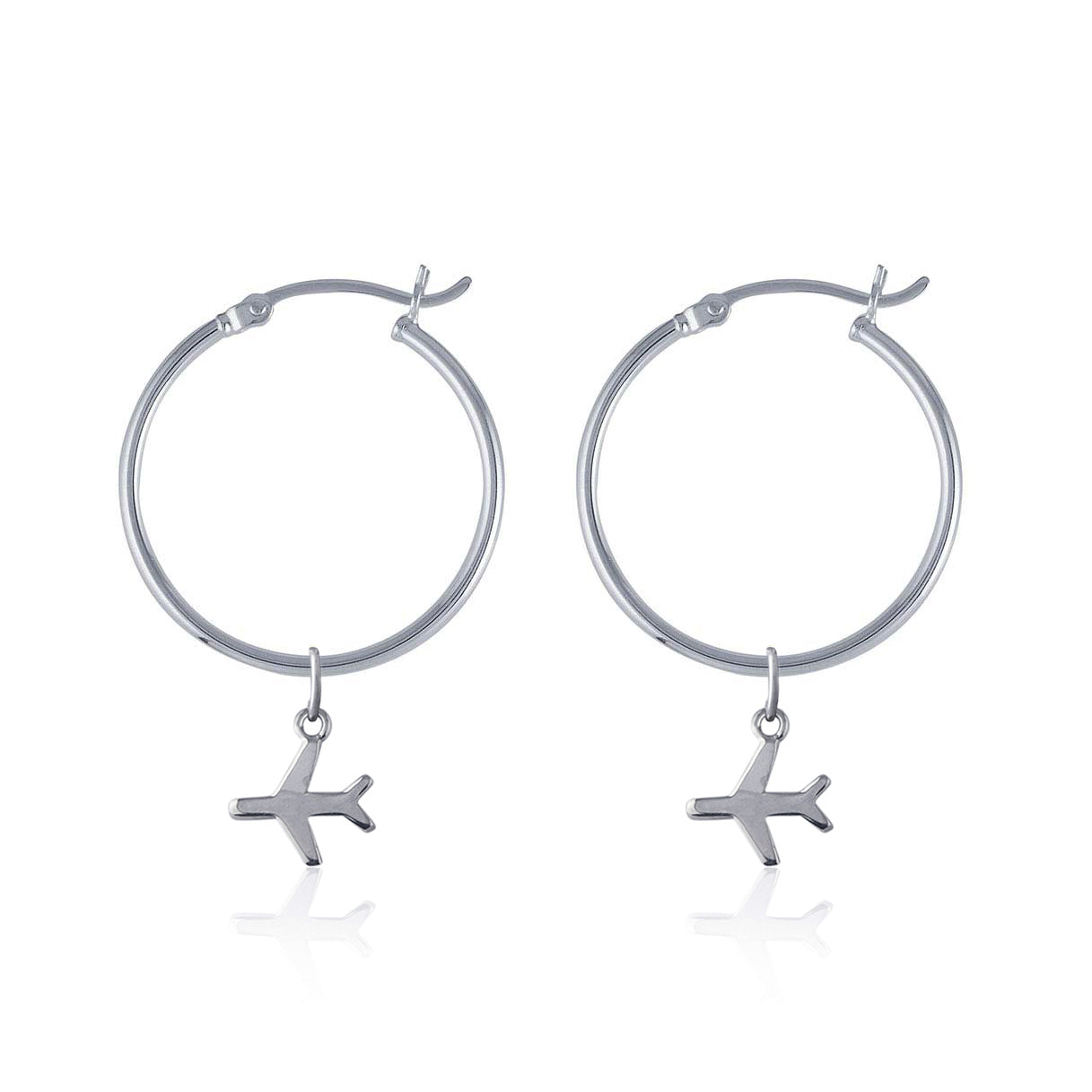 La Luna Rose Recycled Sterling Silver Tube Hoops with Plane Travel Charms