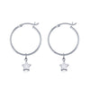 La Luna Rose Sterling Silver Tube Hoop Earrings with Star Charms
