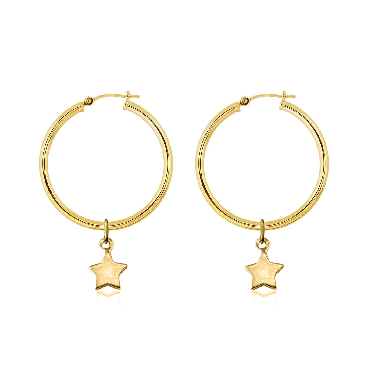 La Luna Rose Gold Tube Hoop Earrings with Mini Star Charms