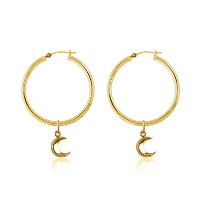 La Luna Rose Gold Tube Hoop Earrings with Moon Charms