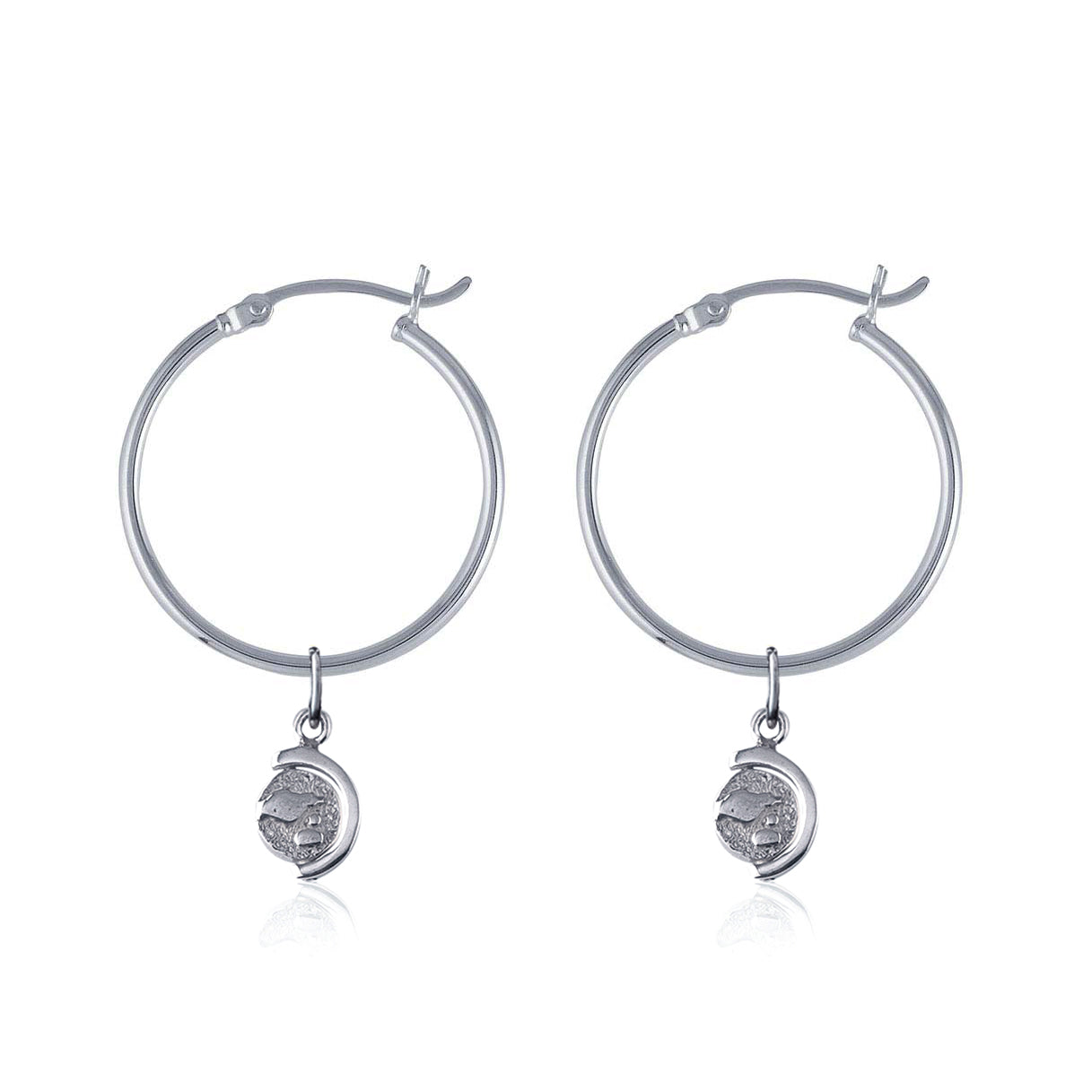 La Luna Rose Recycled Sterling Silver Tube Hoops with Spinning Globe Charms