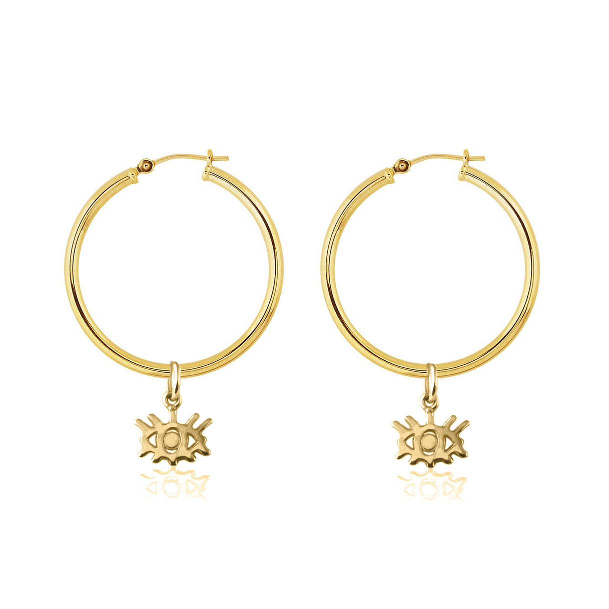 La Luna Rose Gold Tube Hoops with Gold Eye Charms