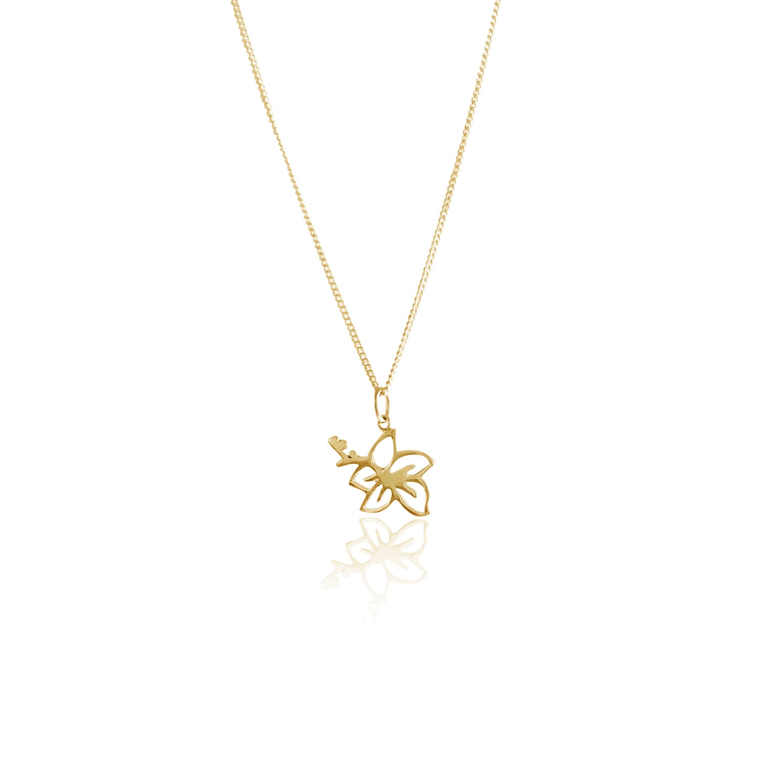 Goldfish Kiss Hibiscus Flower Charm Necklace - Gold