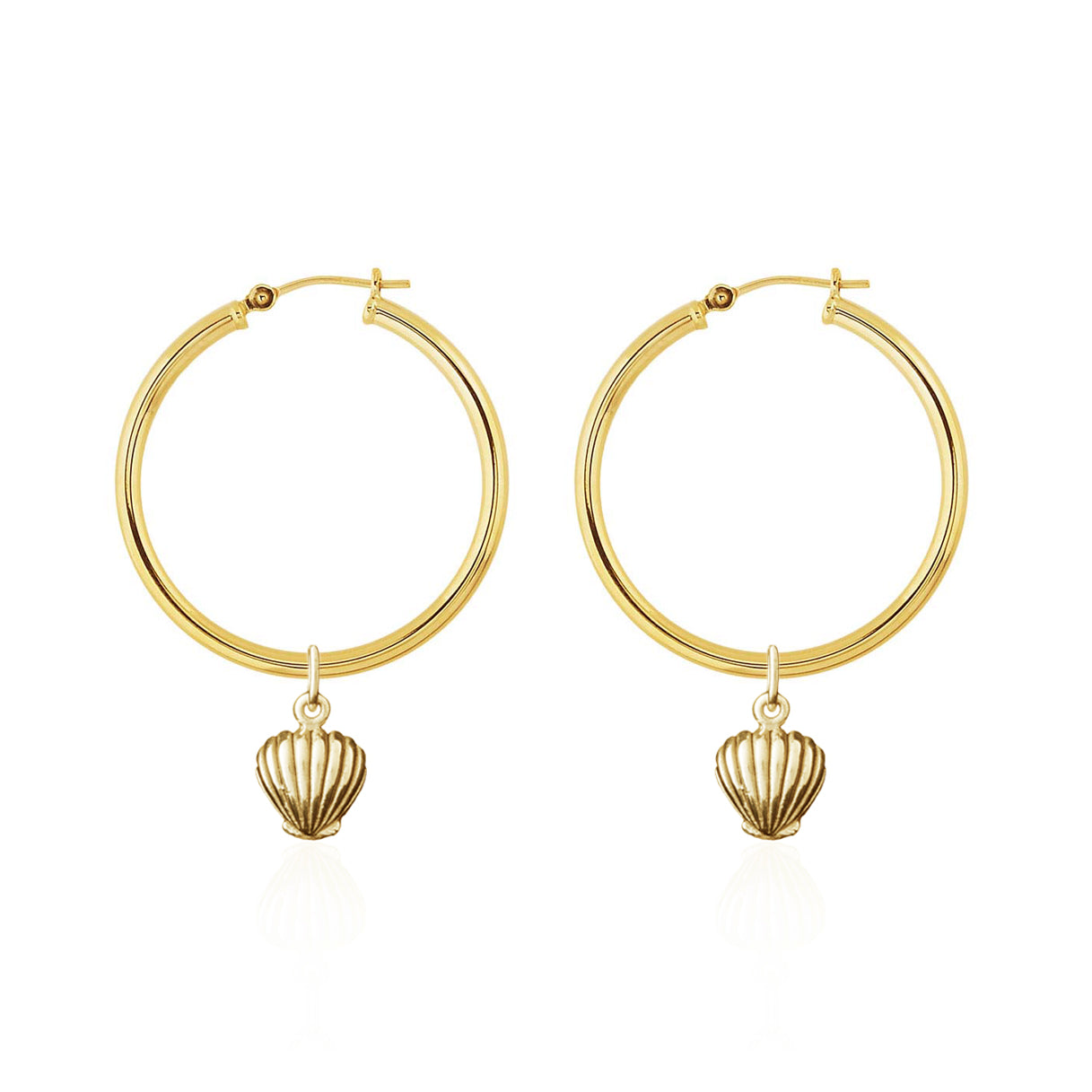 La Luna Rose Gold Tube Hoop Earrings with Beach Shells Charms