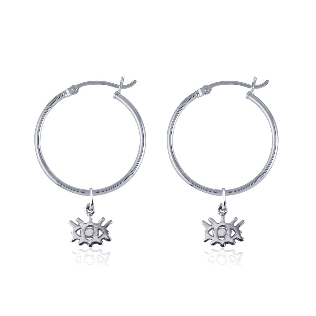 Hoop Earrings - Eye Wish You Were Here (Silver)