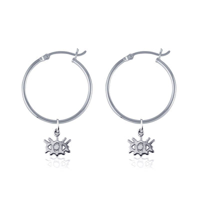 La Luna Rose Recycled Sterling Silver Tube Hoops with Eye Charms
