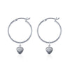 La Luna Rose Recycled Sterling Silver Tube Hoop Earrings with Beach Shell Charms