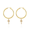 La Luna Rose Gold Tube Hoop Earrings with Palm Tree Charms