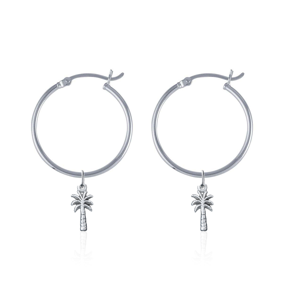 La Luna Rose Sterling Silver Tube Hoop Earrings with Palm Tree Charms