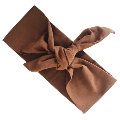 La Luna Rose Linen Head Wrap in Brown