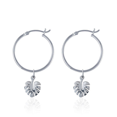 La Luna Rose Recycled Sterling Silver Tube Hoops with Monstera Leaf Charms