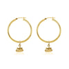 La Luna Rose Gold Tube Hoops with Sun Charms