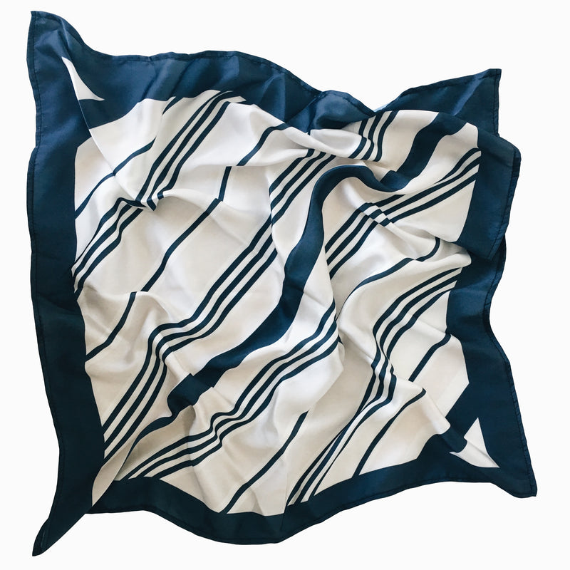 La Luna Rose RIVIERA NECK SCARF Navy Blue Stripes