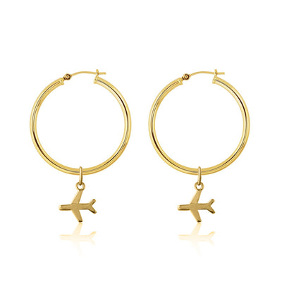 La Luna Rose Gold Tube Hoops with Plane Travel Charms