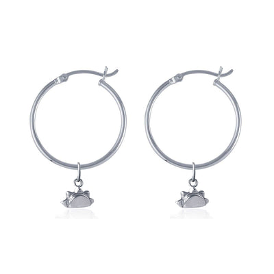 La Luna Rose Recycled Silver Tube Hoops with Sun Charms