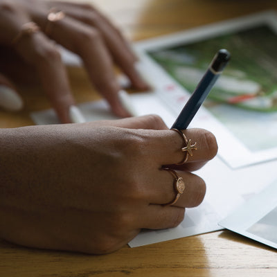 World Globe Charm Ring - Rose Gold
