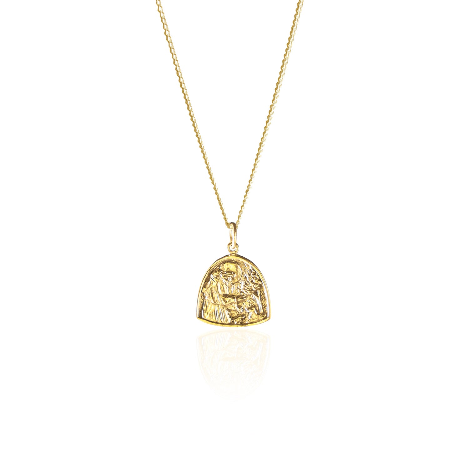 St Assisi Patron Saint of Animals Pendant made from Recycled Sterling Silver and 18kt Gold