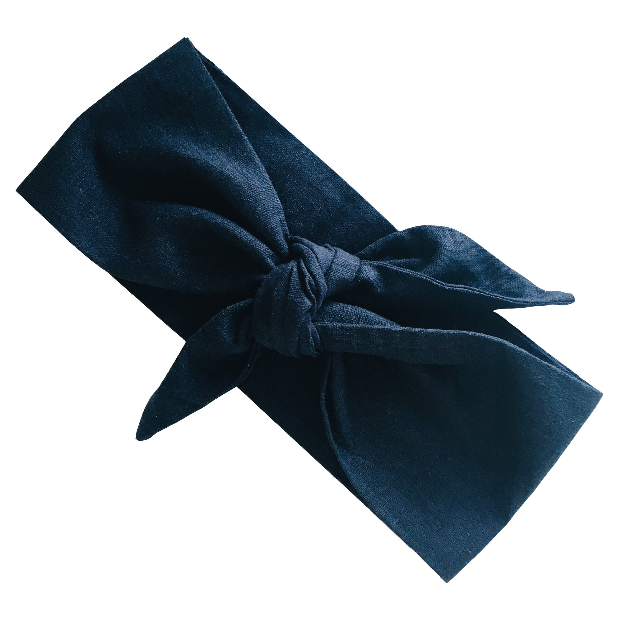 La Luna Rose 100% Linen Head Wrap in Navy
