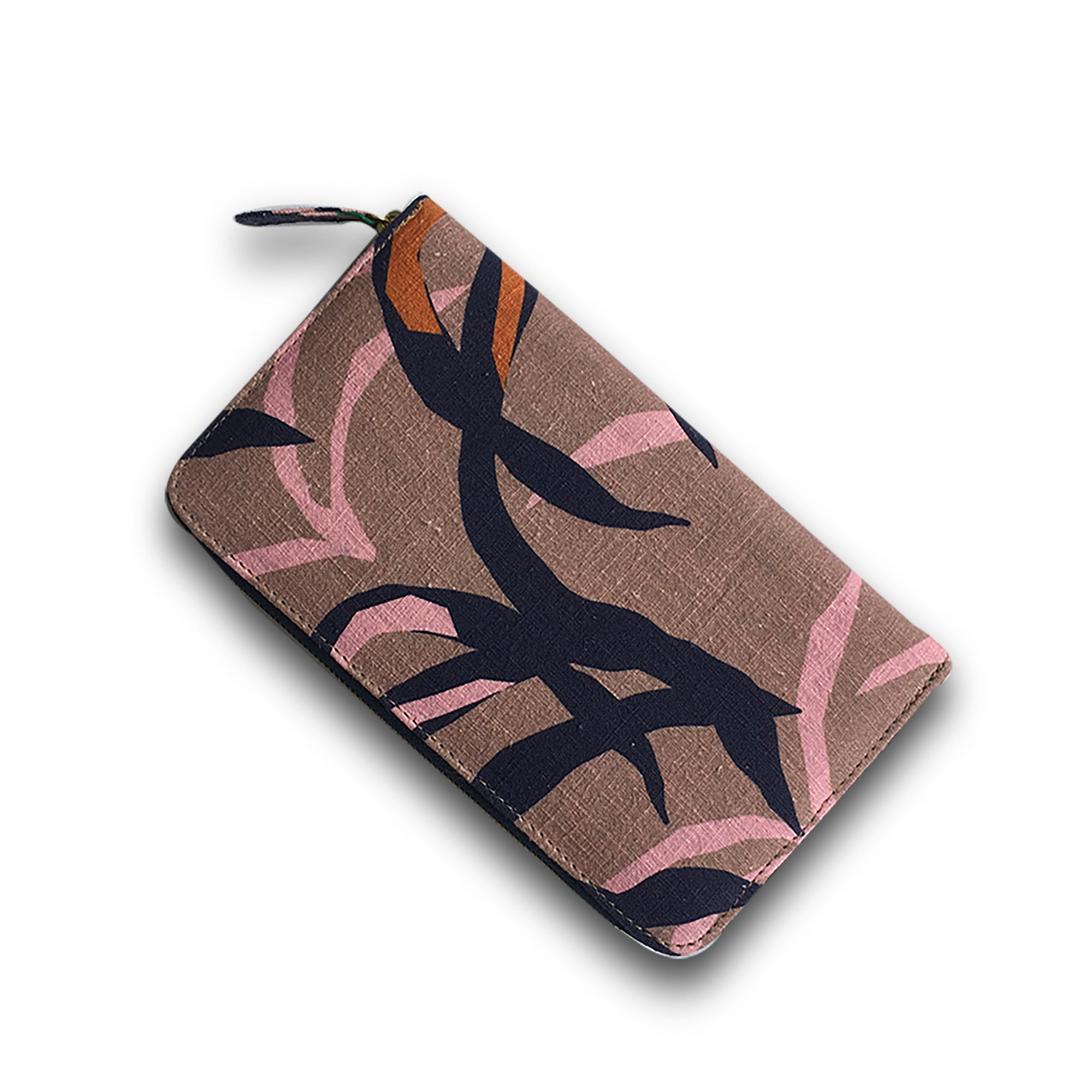 TRAVELLING TREV CLUTCH - PENIDA PALM PRINT (BLUSH)
